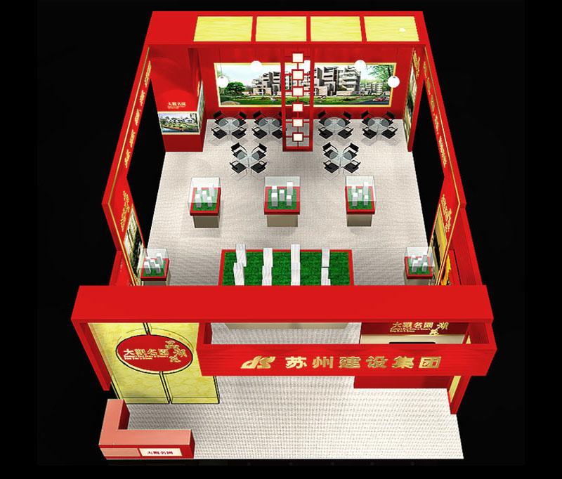 房产展 现代中式展台设计模型 150平米 三面开