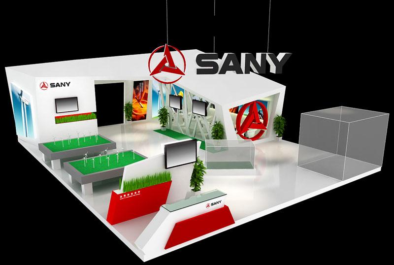 能源展 光伏展 节能环保展 展台设计模型 180平米 四面开