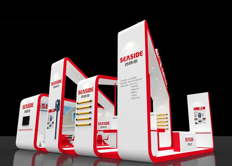 建材展 五金工具展 展台设计模型 96平米 三面开