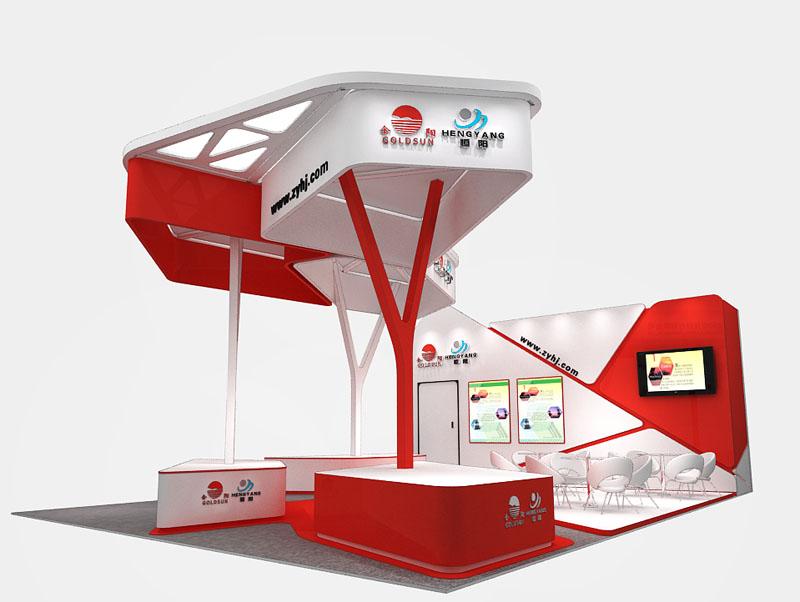 建材展 五金工具展 展台设计模型 54平米 三面开