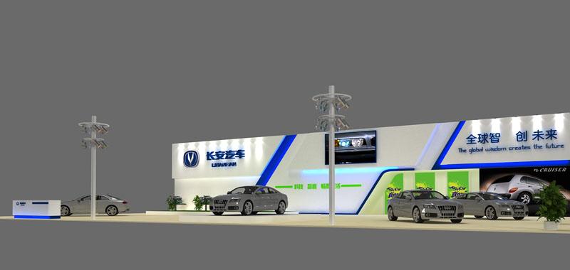 长安汽车 汽车展 600平米 三面开 - 展台模型下载